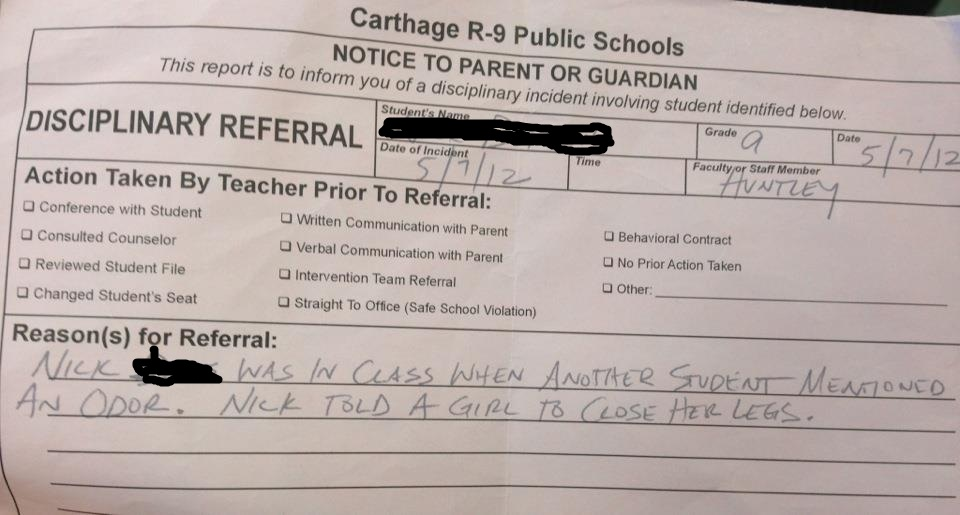 Disciplinary referral